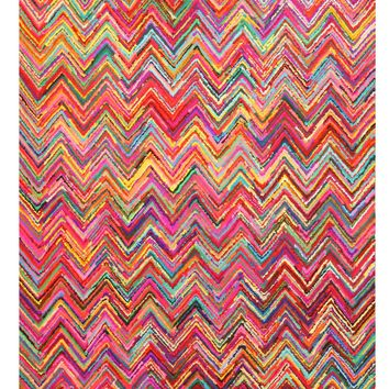 EORC Hand-tufted Cotton Multicolored Transitional Abstract Sari Chevron Rug
