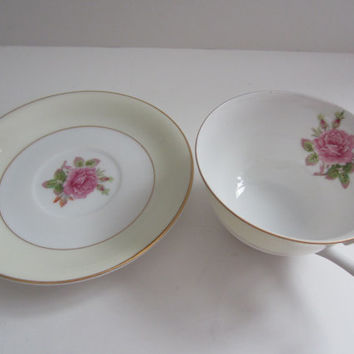 FUJI Rosette China Japan Tea cup and saucer 1940s Vintage Fine china