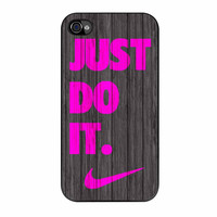 Nike Just Do It Wood Colored Darkwood Wooden Pink iPhone 4 Case