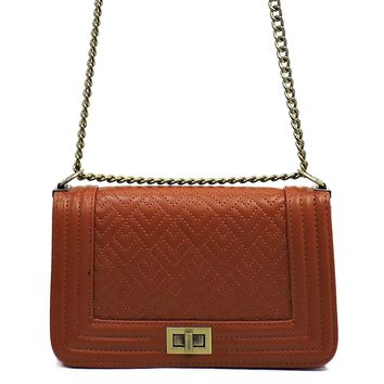 Quilted Box Crossbody Bag Brown