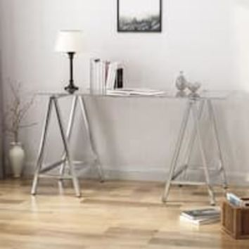 LYKE Home Modern Sleek Glass Writing Desk | Overstock.com Shopping - The Best Deals on Desks