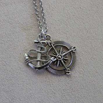 Necklace, One Direction, Harry Styles and Louis Tomlinson Tattoo inspired, Anchor and Compass, Charm Pendant