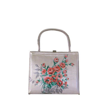 Vintage Handbag Floral 1960s Plastic Purse with Inlay Floral Print Fabric - Silver Tone Metal Frame and Handle with Three Interior Pockets