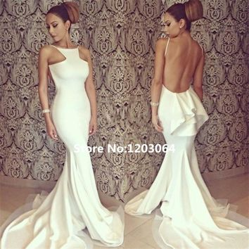 Robe De Soiree Long Elegant Prom Dresses Backless Mermaid Evening Dress 2016 Sexy White Ivory Beautiful Cheap Prom Dress Caftan