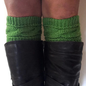 Peapod Boot Cuffs Cable Knit Green Boot Liners Toppers