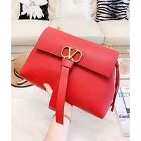 Valentino Fashion New Leather High Quality Chain Shopping Leisure Shoulder Bag Women Red