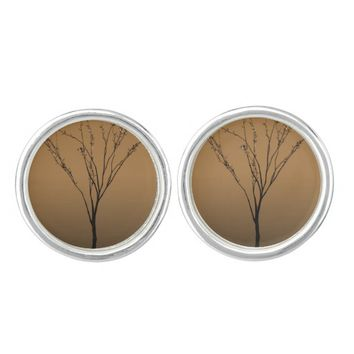 Elegant Brown Tree Art cuff links Cufflinks