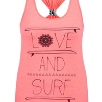 Plus Size - Love And Surf Graphic Print Racerback Tank - Sparkling Apricot