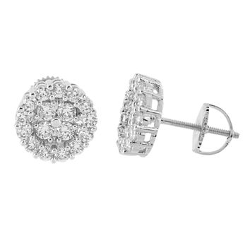 Prong Set Round Earrings 14K White Gold Finish Lab Diamonds Scre cb6bca5d0