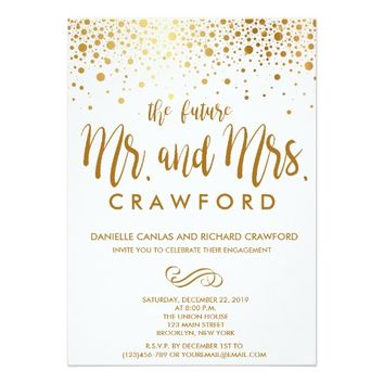Confetti Gold Dots Engagement Party Invitation