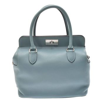 Authentic Hermes Toolbox Women's Swift Leather Shoulder Bag,Han 802500019753000