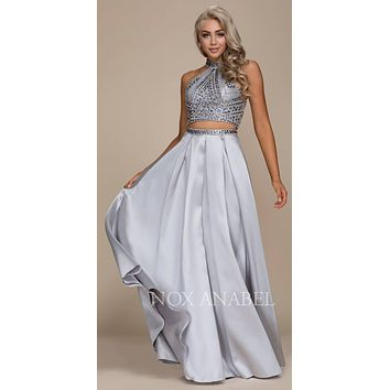 Two-Piece Long Prom Dress Halter Beaded Crop Top Silver