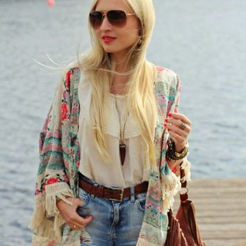 Bohemian Sytle Kimono With Tassels