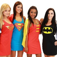 Superhero Dress Pajamas With Cape.