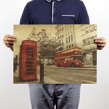 [H253] London red buses and telephone booths Kraft cafe bar decorated 51x35.5cm home decor Vintage paper poster