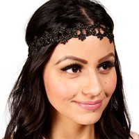 Black/Gold Metallic Lace Headband