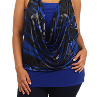 Cowl Neck Halter Print Ring Tank Top - Blue- Plus Size - 1x - 2x - 3x