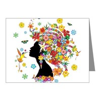 HUMMINGBIRD KISS FLORAL GIRL NOTE CARDS