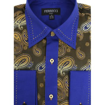 Ferrecci Men's Satine Hi-1019 Blue & Gold Tone Paisley Button Down Dress Shirt