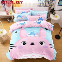 New 3D Pink cat Thickening cartoon kids bedding set 4pcs cotton Houses duvet cover bed sheet set linen quilt  pillowcase set