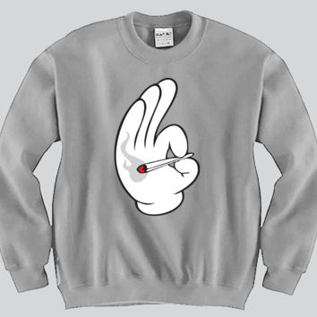 Smoking Blunt Mickey Mouse hands Unisex Crewneck Funny and Music