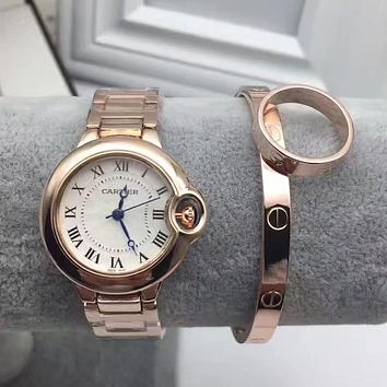 Cartier Fashion Quartz Movement Wristwatch Watch Bracelets Rings Three Piece Set