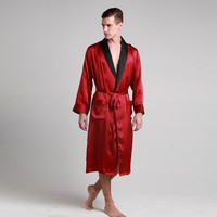 Mens 100% Mulberry Silk Robe Turndown Collar Dressing Gown Bathrobe Lilysilk