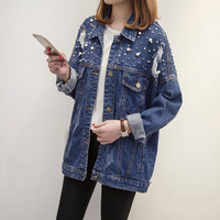 Buy Sugar Town Distressed Beaded Denim Jacket | YesStyle