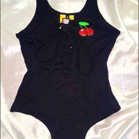 SWEET LORD O'MIGHTY! CHERRY LACE UP BODYSUIT IN BLACK