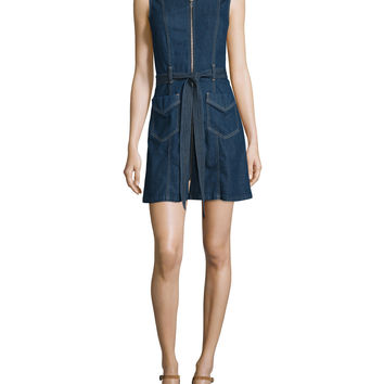 Sleeveless Zip-Front Denim Shirtdress, Saint Tropez Night