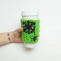 Halloween Spider Web Coffee Cozy in Electric Green and Black, ready to ship.