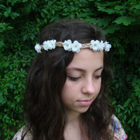 Flower Crown, Flower Headband, Twine Headband, Floral Halo, White Flower Crown, Simple Flower Crown, Flower Headwrap, Flower Crown Halo