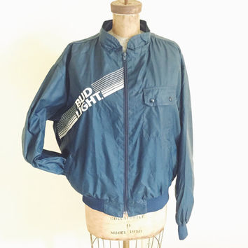Vintage, 1980s,  Blue, Bud Light, Light Weight, Nylon, Windbreaker, Hipster, Advertising, Drinking Team, Mens XL