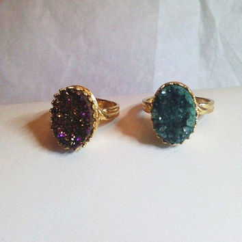 """Darling """"Crowned with Glory"""" Druzy Quartz Ring"""