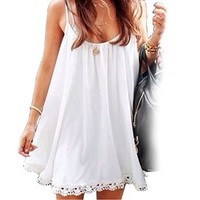 PS Women's Casual Loose Thin Straps Crochet Hem Summer Beach Mini Dress