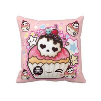 Kawaii skull cupcakes with stars and hearts pillow from Zazzle.com