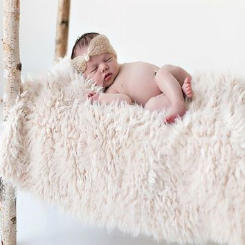 Newborn Faux Fur Wrap Baby Photography Props Blanket Newborn basket filler stuffer Photo Shoot baby fotografia Accessories 50*50