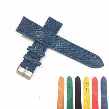 1 PCS Original Luxury Causal 20MM Military Army Denim Fabric Band Watch Band Strap Alloy Buckle Wrist WatchBand For Watches