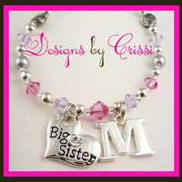 Design your own Personalized Swarovski crystals & pearl Big Sister necklace- choose your color(s)!