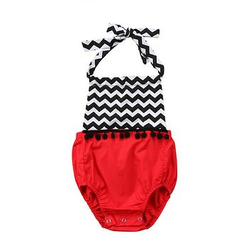 Newborn Girls Bodysuits  New Kid Baby Girl Strap Tassels Jumpsuit Outfit Pendant Clothes Cotton Baby Costume