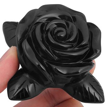Hand Carved Black Obsidian Rose
