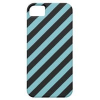 Blue Curacao And Oblique Black Stripes Patterns iPhone 5 Case from Zazzle.com