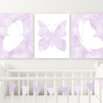 Purple Lilac Watercolor BUTTERFLY Nursery Wall Art Decor, Watercolor Lilac Butterfly Wall Decor, Butterfly Nursery Set of 3 Canvas or Print