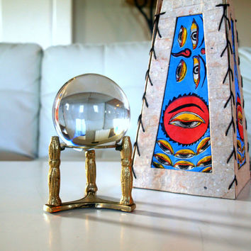 VINTAGE GYPSY CRYSTAL Ball Old Glass Orb on Pillar Brass Stand Antique Curiosity Cabinet Display Piece Reflecting Glass Vignette Decoration