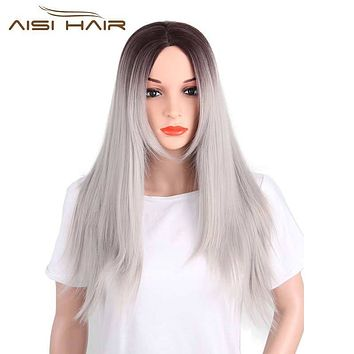 I's a wig Synthetic Ombre Grey Black Red Pink Blond Green High temperature fiber Wigs for Black Women Long Straight Dark Roots