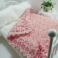 Miniature Blanket Pink Dollhouse Afghan Crochet Throw Inch Scale Fairy House Doll Bedroom Accessory Linen Holiday Shopping Stocking Stuffers