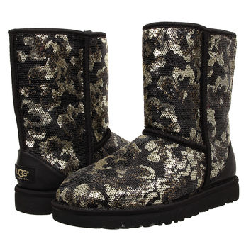 UGG Sierra Sparkles Gold Sequin Lace Short Boots