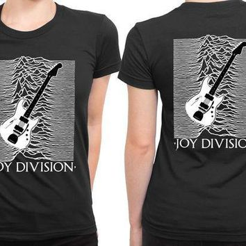 CREYH9S Joy Division Unknown Pleasure Guitar Version 2 Sided Womens T Shirt