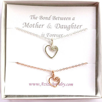 Mother Daughter Heart Necklaces. Gold and Silver Heart Necklace Set. Two Hearts Necklace Gift Set.