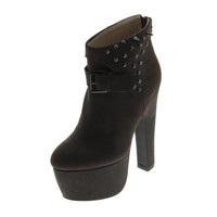 N.Y.L.A. Womens Carrey Leather Studded Ankle Boots